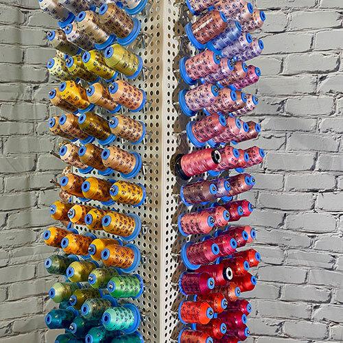 Machine Embroidery Thread on Rack