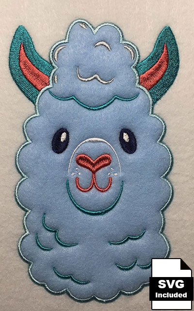 Llama applique embroidery design