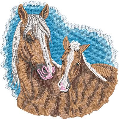 Palomino pair embroidery design