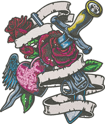 rose and dagger tattoo embroidery design