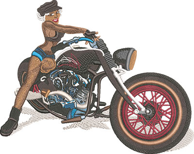 motorcycle chick embroidery design