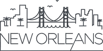 New Orleans city skylines embroidery design