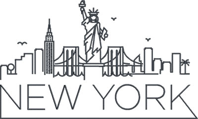 new york city skyline embroidery design