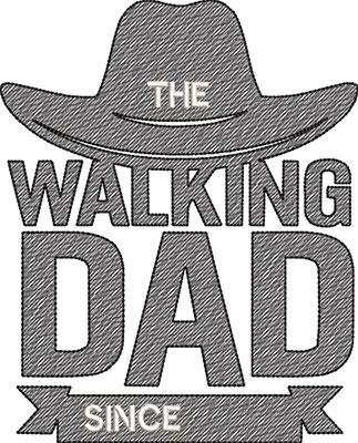 walking dad embroidery design