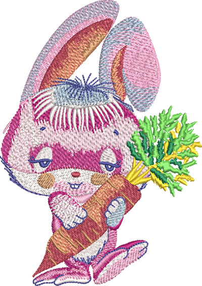 pink bunny with carrot embroidery design
