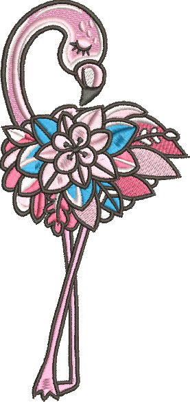 summer flower flamingo embroidery design