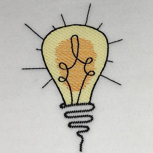 embroidery digitizing challenge light bulb design