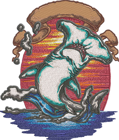 King of the ocean embroidery design