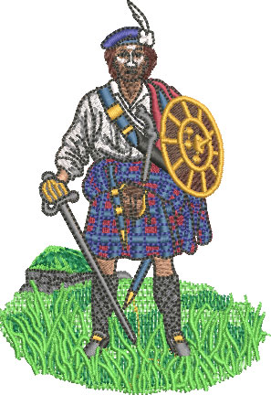 Highlander embroidery design