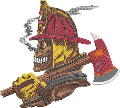 fire fighter skull embroidery design