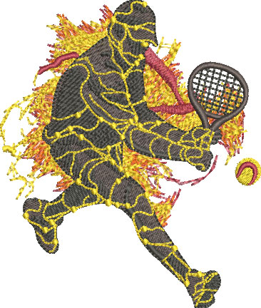 lava tennis player embroidery design