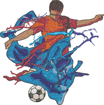 splash soccer player embroidery design