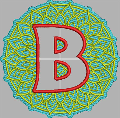 mandala terrycloth monogram b embroidery design