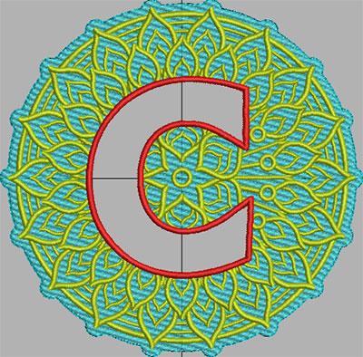 mandala terrycloth monogram c embroidery design
