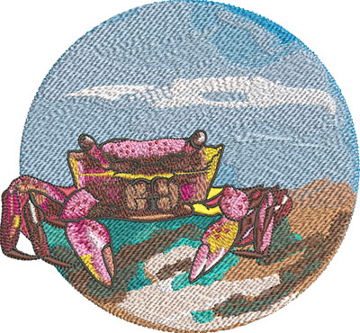 ocean crab embroidery design