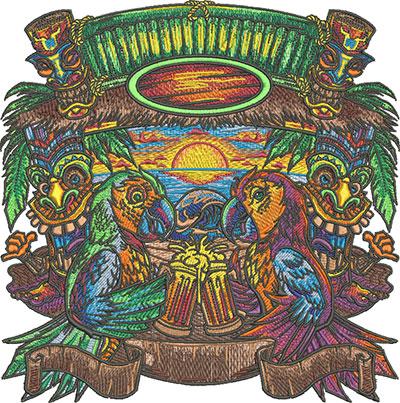 tiki parrots embroidery design