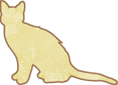 cat satin embroidery design