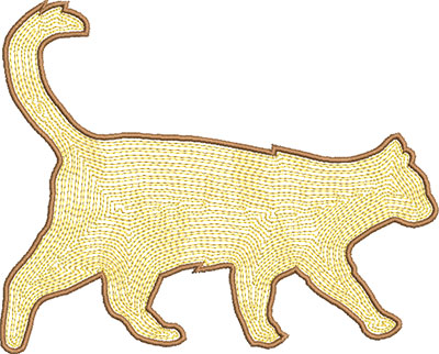 cat satin stitch embroidery design