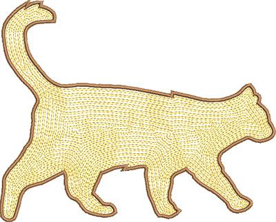 cat satin stitch embroidery design