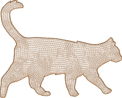 cat backstitch embroidery design