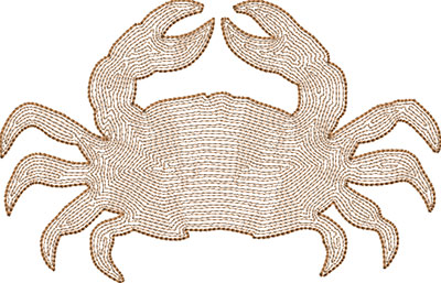 crab backstitch embroidery design