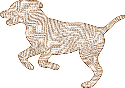 dog backstitch embroidery design