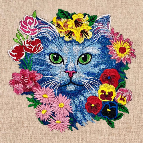 kitten with flowers embroidery design