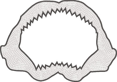shark jaw embroidery design