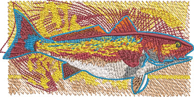 funky redfish embroidery design