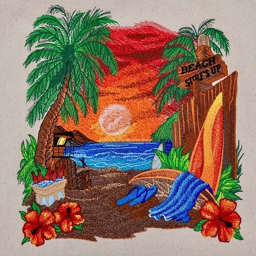 Large Legacy Embroidery Design Beach Sceen