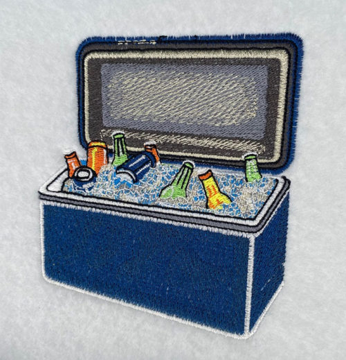 cooler of beer embroidery design