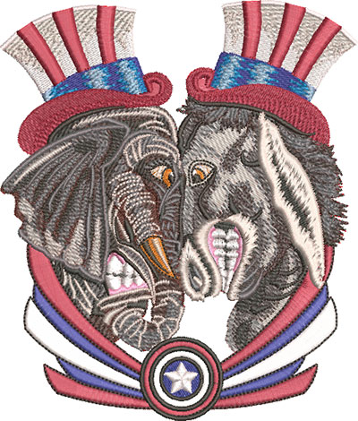 political face off embroidery design