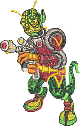 alien reptilian embroidery design