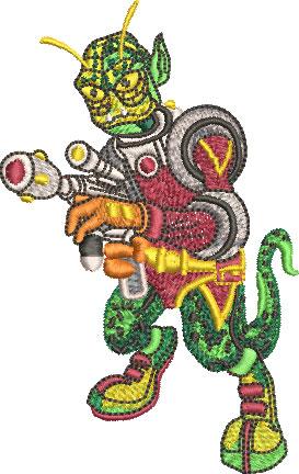 alien reptilian embroidery design