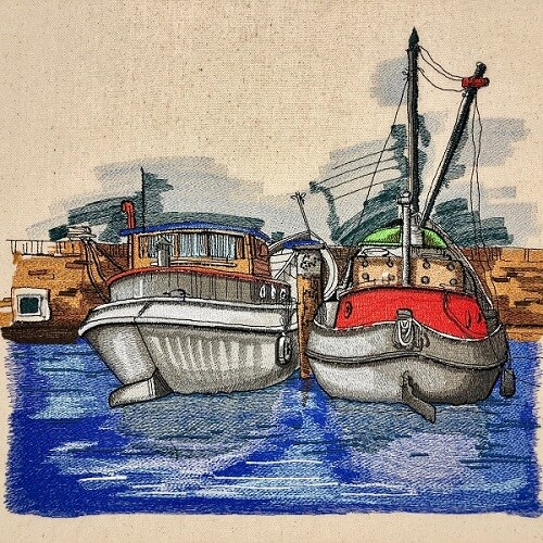 Harbour Scene Large Legacy Embroidery Design