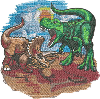 dinosaur battle embroidery design