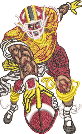 mean football player embroidery design