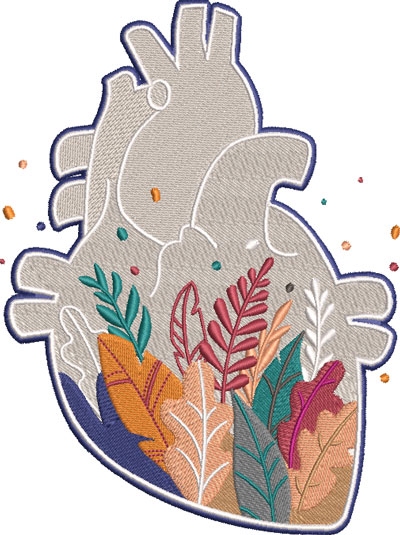 leaves heart embroidery design