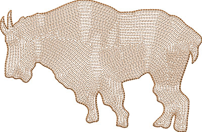 mountain goat outline embroidery design