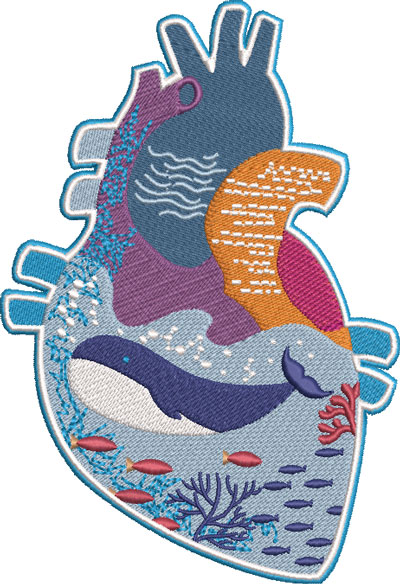 sea life heart embroidery design
