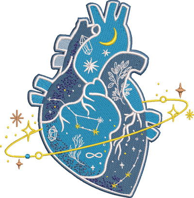 heart with stars embroidery design