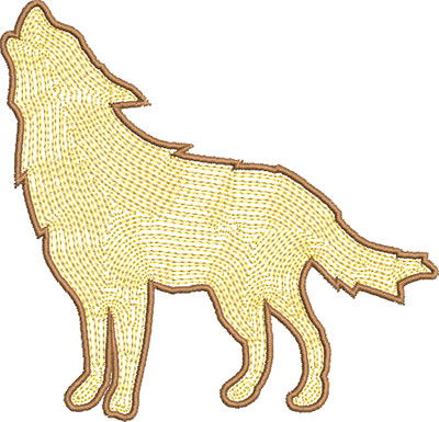 wolf outline embroidery design