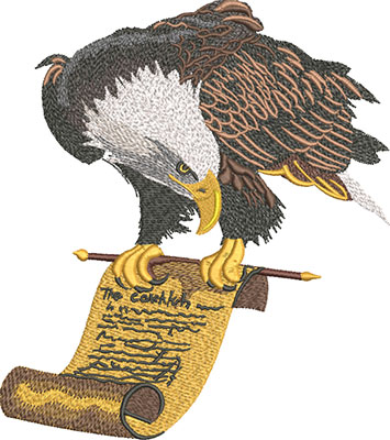 eagle and scroll embroidery design