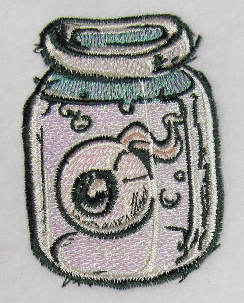 eye jar mylar embroidery design