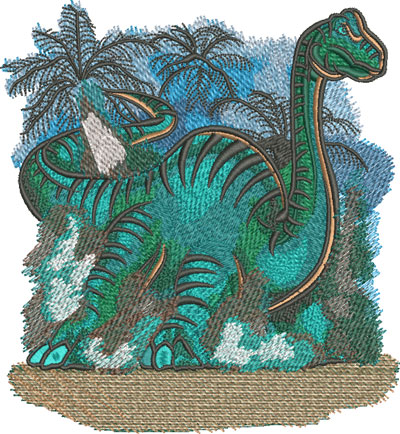 cartoon brontosaurus embroidery design