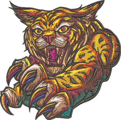 wildcat mascot embroidery design