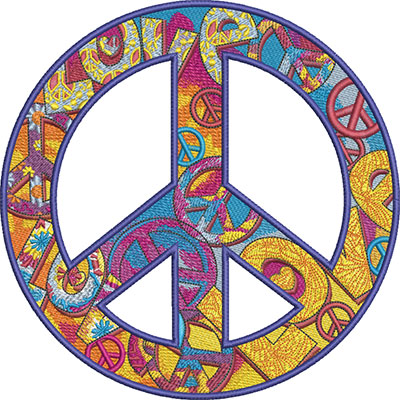 decorative peace symbol embroidery design