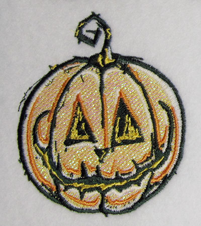 pumpkin mylar embroidery design