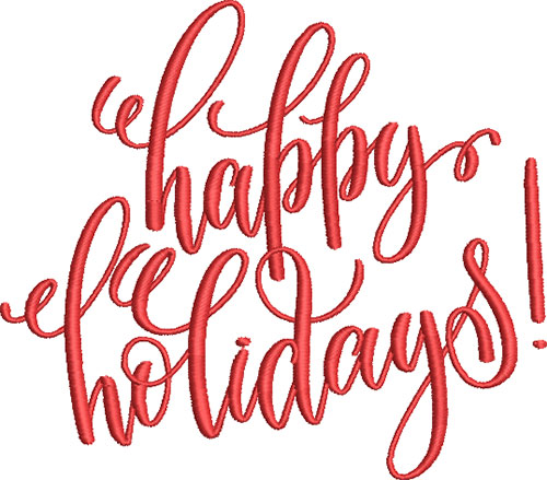 Happy Holidays! Embroidery Design