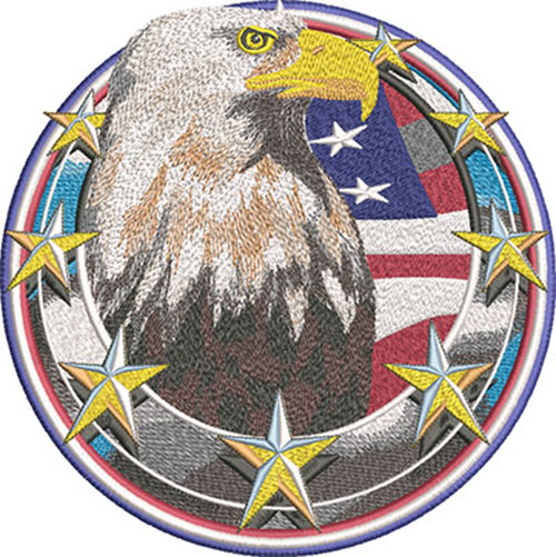 eagle in circle embroidery design